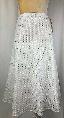 Gianni Bini Skirt A-Line Midi Flare XS, Small Medium Large Eyelet White New $119