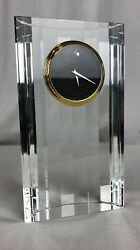 Movado Museum CLOCK Dial Cut Crystal Desk Table Top  TCL-130M Gold Classic watch