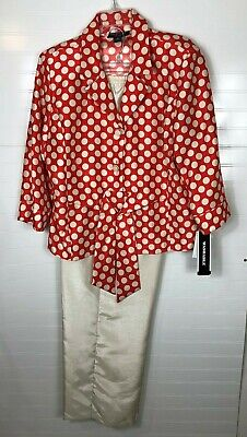 Perceptions New York Womens Pant Suit Size 16 red/ivory dots w/ ivory pants NWT