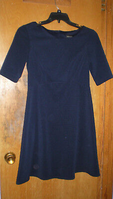 Connected Apparel Navy Short Sleeve Dress Size 10 With Back Zipper