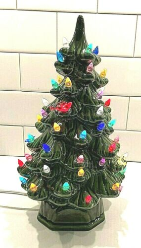 Vintage Ceramic 12 Inch Lighted Christmas Tree Birds & Flame Bulbs Excellent BIN