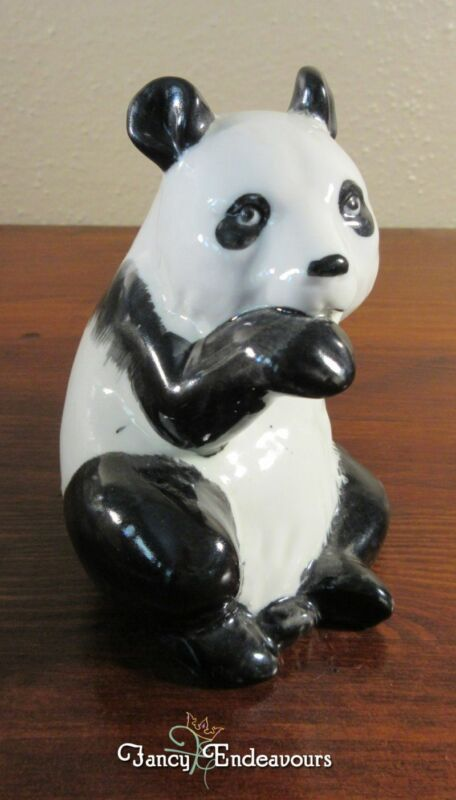 Vintage Chinese Porcelain Black & White Panda Bear Figurine