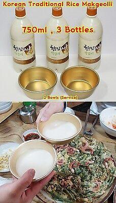 NEW Korean Rice Traditional ,Makgeolli,korean food,750ml X 3 & 2Bowls NEW
