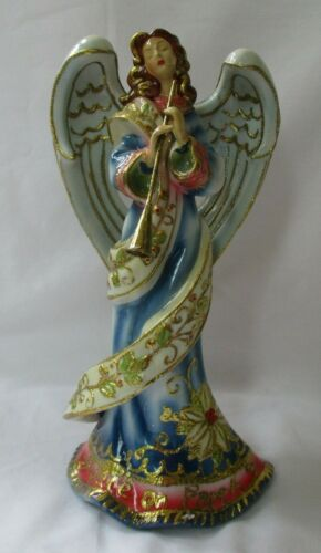ROMAN COLORFUL ANGEL WITH TRUMPET PORCELAIN FIGURINE