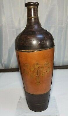 Vintage Rare Clay Painted Copper Strapping Folk Art Large Floor Vase - Art Clay Copper Clay