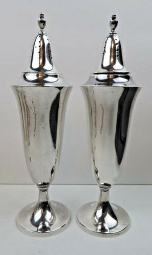 """Gorham Solid Sterling Silver 6.5"""" Tall Salt & Pepper Shakers Date Mark 1925"""
