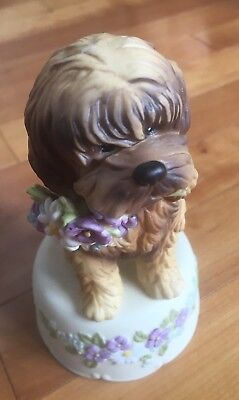 """Schmid  Collectible Dog Music Box 1985 Plays """"Waltz Of The Flowers"""