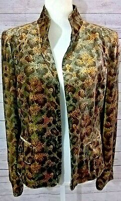 - Ellen Tracy Jacket Size 10 Velour Animal Print Long Sleeve Open Front Lined