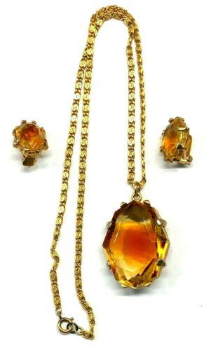 Vintage Designer Citrine Rhinestone Pendant Necklace Earrings Set