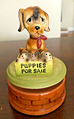 Darling, Vintage Mama Dog Puppy/Puppies For Sale Music/Musical Box/Figurine (F)