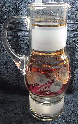 ELEGANT VINTAGE PITCHER - BANDED-FROSTED, GOLD, RED, CUT TO CLEAR, BLOWN GLASS