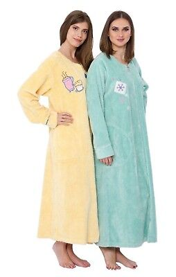Chenille Gown ( Embroidered Chenille Robe Coffee Cup, Moon Star, Snowflake Long Dressing Gown  )