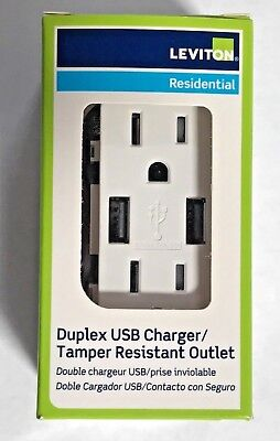 Leviton T5632-W USB Charger 15 Amp, Decora Tamper-Resistant Receptacle -White