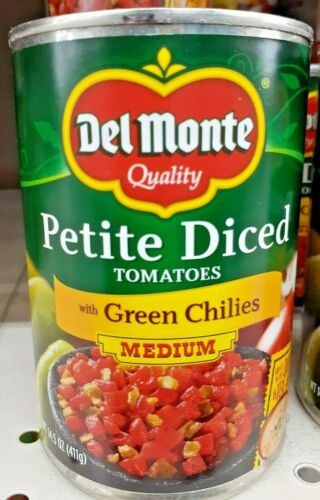 Del Monte Petite Diced Tomatoes with Green Chilies 14.5 (Medium) Pack of 6