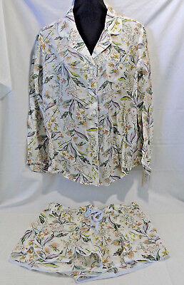 Gilligan & O'Malley Pajama Set 2 Piece Long Sleeve Top Shorts Floral Large