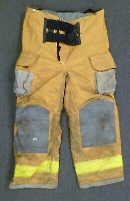 38x28 Janesville Yellow Firefighter Pants Turnout Bunker Fire Gear P086