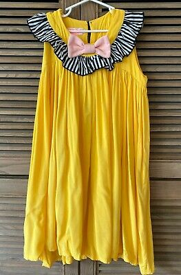 bang bang copenhagen Yellow Dress Ruffles 7-8 Pink Bow boutique european