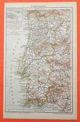 Portugal Algarve Lissabon Porto    historische Landkarten 1897  Map