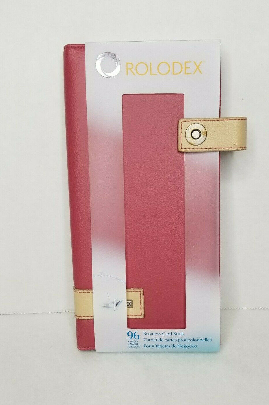 Rolodex Snap Buckle Pink & Tan 96 Count Business Card Holder