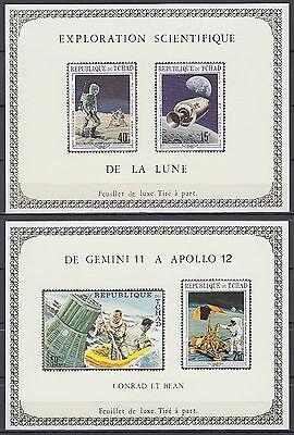 Tchad 1970 ** Mi.291/94 de LUXE M/S Weltraum Space Espace Apollo