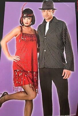 Flapper Women's Halloween Costume Red Fringe 1920s Sequin Gatsby Medium 8-10 New