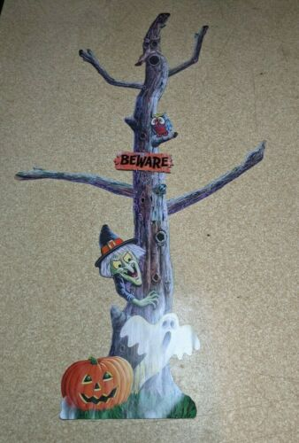 Vintage 1993 Beistle Halloween 6 ft Die Cut Jointed Tree Witch Owl Decoration