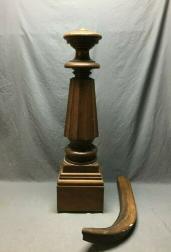 Antique Decorative Turned Walnut Newel Post Fluted 9x43 Vtg Staircase 216-20B