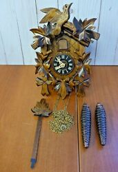 River City Clocks Quartz Cuckoo Clock with Five Leaves & Bird **AS IS** (XM11)