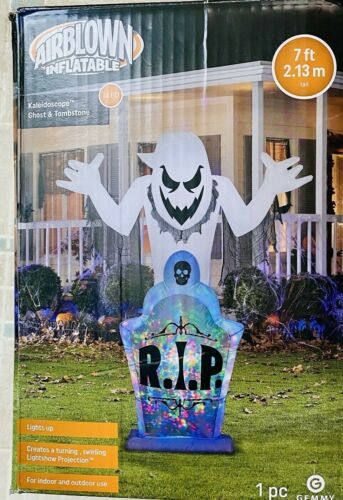 """Gemmy Airblown 83"""" Inflatable LED Kaleidoscope Ghost & Tombstone  **SEE VIDEO**"""