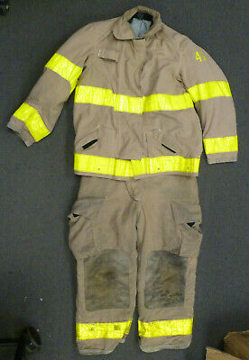 Firefighter Tan Turnout Set Globe Jacket 44x32 Pants 40x28 Suspenders Clean S41