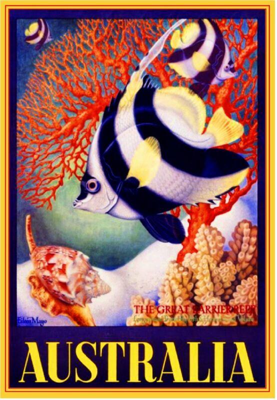 The Great Barrier Reef Fish Australia Vintage Travel Advertisement Art Poster
