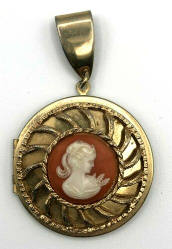 Victorian Cameo Locket Pendant Gold Tone with ivory Cameo on Brown