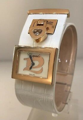 Chopard Happy Twelve Rose Gold Diamond Leather Band Ladies Watch 27/9147-5004