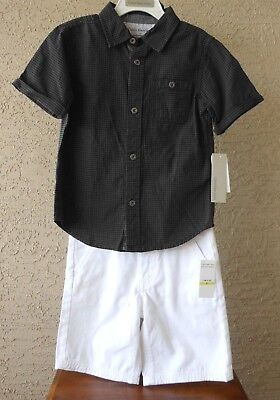 Calvin Klein Jeans Little Boy Size 5 Button Front Shirt And Shorts 2 Piece Set