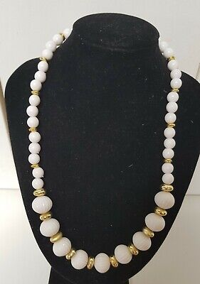 60s -70s Jewelry – Necklaces, Earrings, Rings, Bracelets Vintage 1960's 45cm White Thermoset Lucite Melon Bead Necklace 45 Grams & Free G $14.10 AT vintagedancer.com