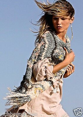 NWT Free People muted green blush tan shaggy fringed Sweater Vest S