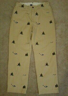Polo Ralph Lauren gi Chino pants 31 x 30 khaki hunting dogs embroidered cotton