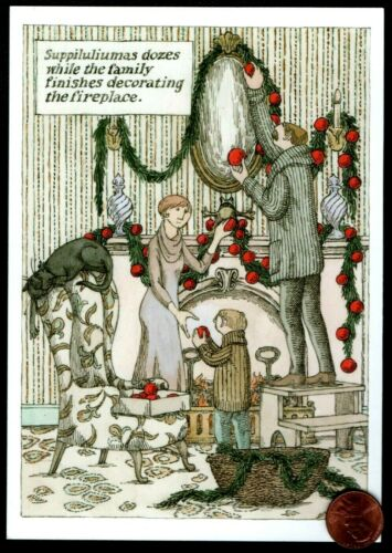 Christmas EDWARD GOREY - Family Decorating House Cat Chair Greeting Card NEW