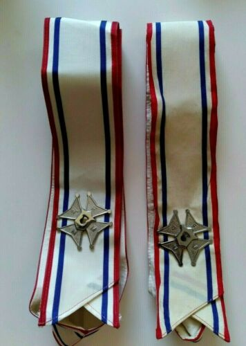 Lot of 2 Vintage Knights of Columbus K of C Ceremonial Sashes w/Metal Cross Pins