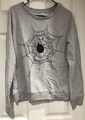 Halloween Creepy Crawley Gray With Black Spiderweb Sweatshirt Women's Sz S NWT