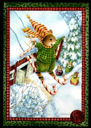 Christmas SUSAN WHEELER Mice Mouse Skiing Candy Cane Snow Tree - Greeting Card