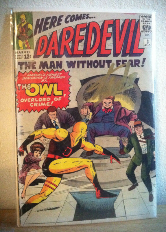 DAREDEVIL 3 SIGNED STAN LEE ORIGIN & 1ST APPEARANCE OF THE OWL MARVEL SPIDERMAN