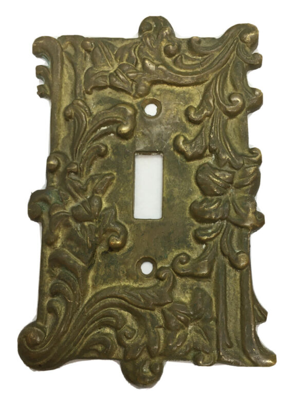 Vintage Old ornate thick solid brass light switch plate electric outlet cover