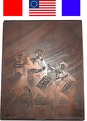 Antique The Spirit Of 76 Fife Drum Copper Printers Block Letterpress Rev War