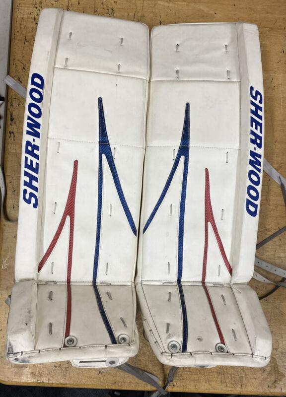 SHER-WOOD ice HOCKEY goalie LEG PADS