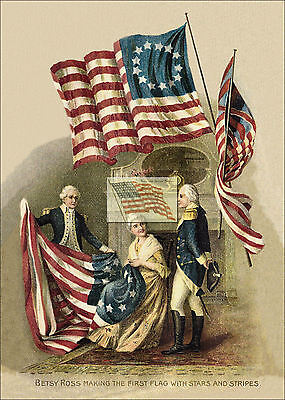 REPRINT PICTURE of old postcard 4TH OF JULY BETSY ROSS making the first flag (Betsy Ross Flag Picture)