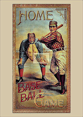REPRINT PICTURE of old HOME BASE BALL GAME BOX COVER LABEL (Home Base Video)