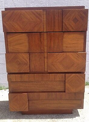 Vintage MCM Paul Evans Era Lane Brutalist Chest of Drawers Tall Dresser Highboy