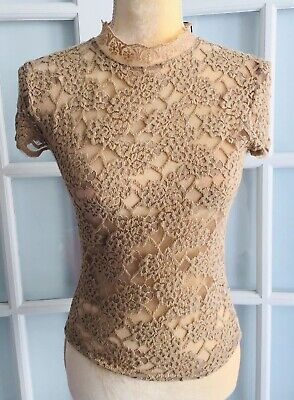 NWT ZARA Woman Brown LACE T- SHIRT High Neck Short Sleeves NEW  Size M  O1668T