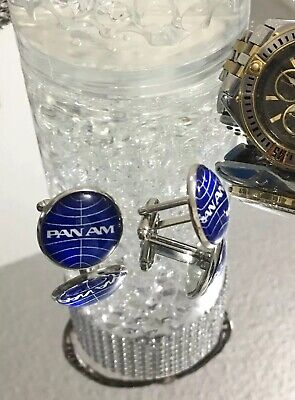 2 Pan Am Cufflinks 20mm With Glass Dome Logo PanAm Amrican airlines Airways
